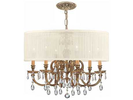 Crystorama Brentwood Olde Brass Six-Light 26'' Wide Chandelier CRY2916OBSAW