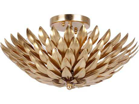 Crystorama Broche Antique Gold Four-Light Semi-Flush Mount Light CRY505GA