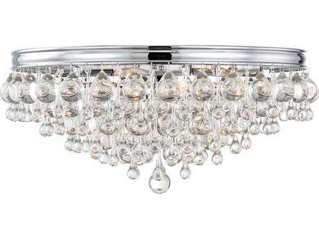 Crystorama Calypso Polished Chrome Six-Light 20'' Wide Flush Mount Ceiling Light with Clear Glass Drop Crystals CRY138CH