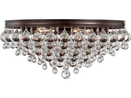 Crystorama Calypso Vibrant Bronze Six-Light 20'' Wide Flush Mount Ceiling Light with Clear Glass Drop Crystals CRY138VZ