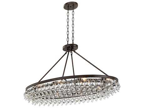 Crystorama Calypso Vibrant Bronze Eight-Light 18'' Wide Island Ceiling Light with Clear Glass Drop Crystals CRY279VZ