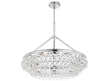 Crystorama Calypso Polished Chrome Six-Light 30'' Wide Pendant Ceiling Light with Clear Glass Drop Crystals CRY275CH