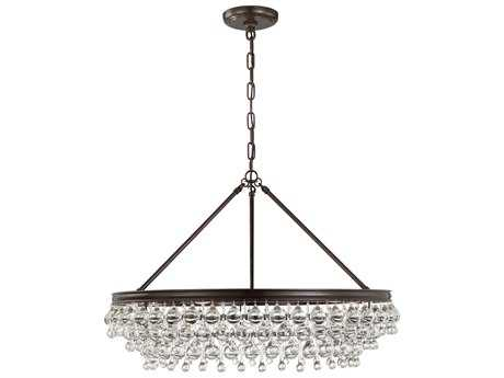 Crystorama Calypso Vibrant Bronze Six-Light 30'' Wide Pendant Ceiling Light with Clear Glass Drop Crystals CRY275VZ