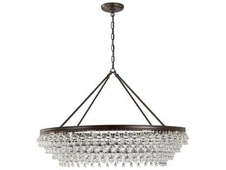 Crystorama Calypso Vibrant Bronze Eight-Light 40'' Wide Pendant Ceiling Light with Clear Glass Drop Crystals CRY278VZ