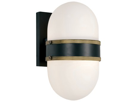Crystorama Capsule Matte Black + Textured Gold Glass Outdoor Wall Light