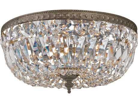Crystorama English Bronze Three-Light 12'' Wide Flush Mount Ceiling Light with Clear Italian Crystals CRY712EBCLI
