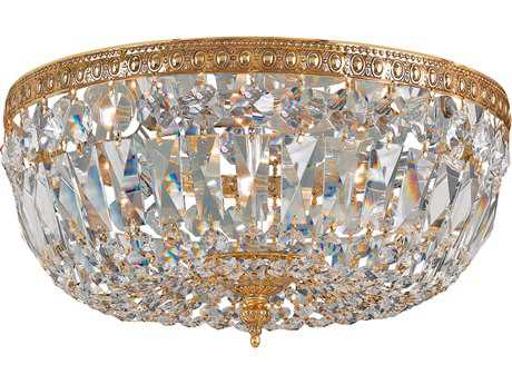 Crystorama Olde Brass Three-Light 12'' Wide Flush Mount Ceiling Light with Clear Italian Crystals CRY712OBCLI