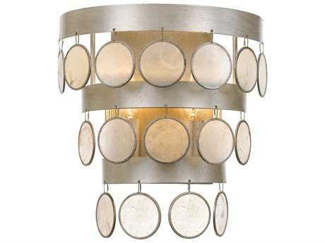 Crystorama Coco 2 Light Antique Silver Sconce
