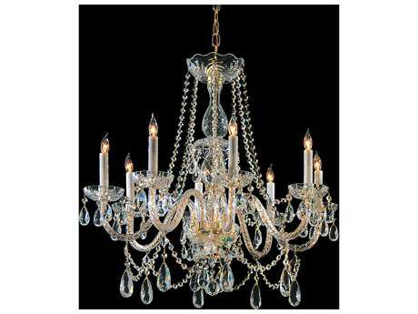 Crystorama Traditional Crystal Polished Brass Eight-Light 26'' Wide Chandelier