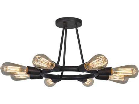 Crystorama Dakota Charcoal Bronze Eight-Light 15'' Wide Pendant Ceiling Light CRY9043CZ