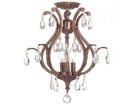 Crystorama Dawson Antique Brass Three-Light Semi-Flush Mount Light CRY5560C