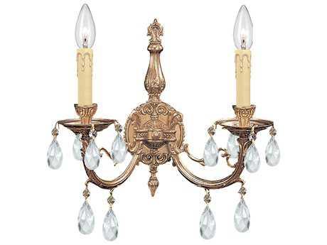 Crystorama Etta Olde Brass Two-Light Wall Sconce