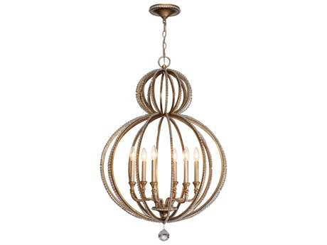 Crystorama Garland Distressed Twilight Six-Light 26'' Wide Chandelier CRY6766DT