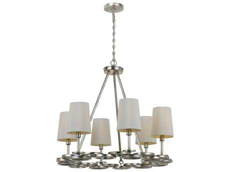 Crystorama Libby Langdon - Graham Antique Silver Six-Light 22.5'' Wide Chandelier CRY286SA