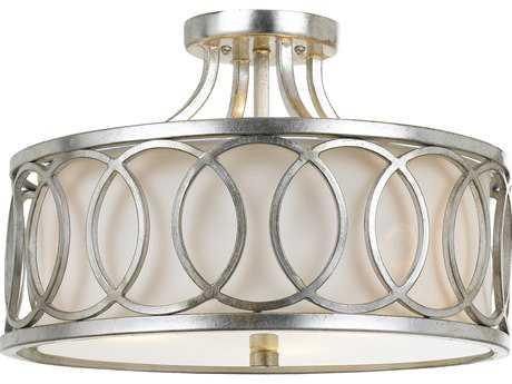 Crystorama Libby Langdon - Graham Antique Silver Three-Light 15'' Wide Semi-Flush Mount Light CRY285SA