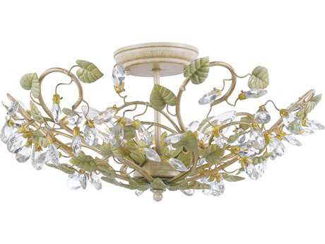 Crystorama Josie Champagne Green Tea Three-Light Semi-Flush Mount Light CRY4840CT