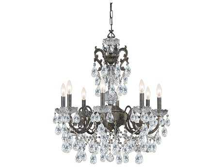 Crystorama Legacy English Bronze Eight-Light 26'' Wide Chandelier with Clear Italian Crystals CRY5198EBCLI