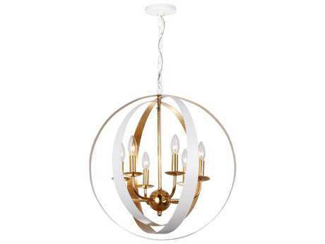 Crystorama Luna Matte White Six-Light 21'' Wide Chandelier