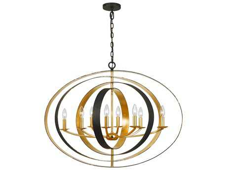 Crystorama Luna English Bronze + Antique Gold Eight-Light 36'' Wide Chandelier
