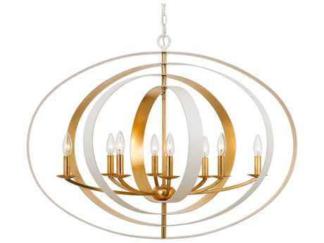 Crystorama Luna Matte white & Antique Gold 8 Light 36'' Wide Chandelier