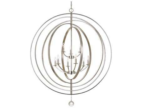 Crystorama Luna 9 Light Antique Silver Chandelier