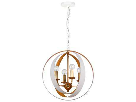 Crystorama Luna Matte White Four-Light 16'' Wide Mini-Chandelier