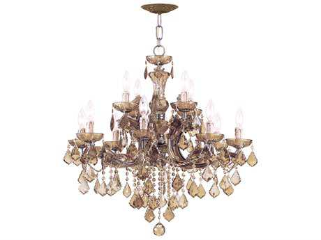 Crystorama Maria Theresa Antique Brass 12-Light 30'' Wide Chandelier CRY4479AB