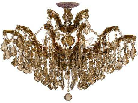 Crystorama Maria Theresa Antique Brass Six-Light Semi-Flush Mount Light CRY4439ABC