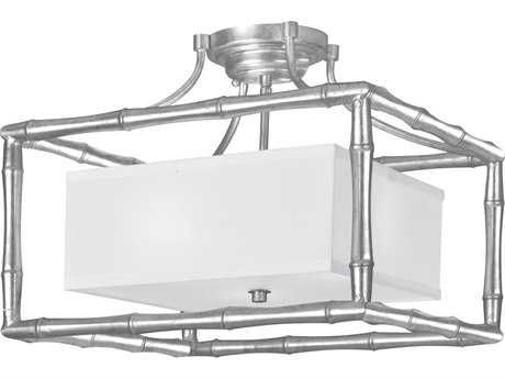 Crystorama Libby Langdon - Masefield Antique Silver Three-Light 16'' Wide Semi-Flush Mount Light