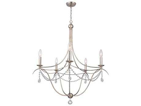 Crystorama Metro Antique Silver Five-Light 27'' Wide Chandelier CRY415SA