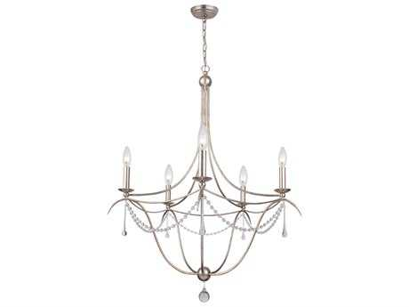 Crystorama Metro Antique Silver Five-Light 28'' Wide Chandelier CRY425SA