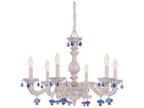 Crystorama Paris Market Antique White Six-Light 28'' Wide Chandelier with Murano Crystals CRY5226AWBLUE
