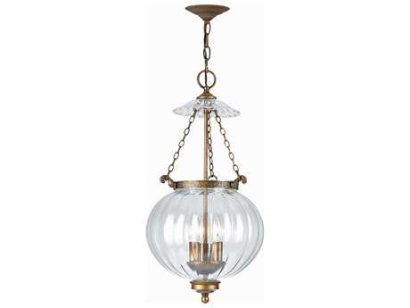 Crystorama Pendant Antique Brass Three-Light Pendant Light CRY5783AB