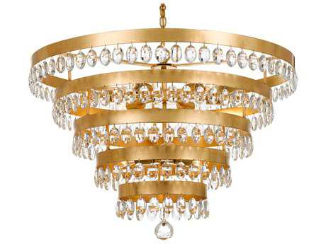 Crystorama Perla 9 Light Antique Gold Chandelier CRY6109GA
