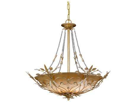 Crystorama Primrose Gold Leaf Six-Light 25'' Wide Pendant Light CRY4700GL