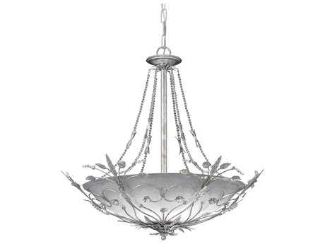 Crystorama Primrose Silver Leaf Six-Light 25'' Wide Pendant Light CRY4700SL