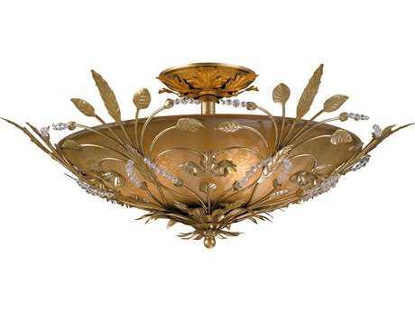 Crystorama Primrose Gold Leaf Six-Light Semi-Flush Mount Light CRY4704GL