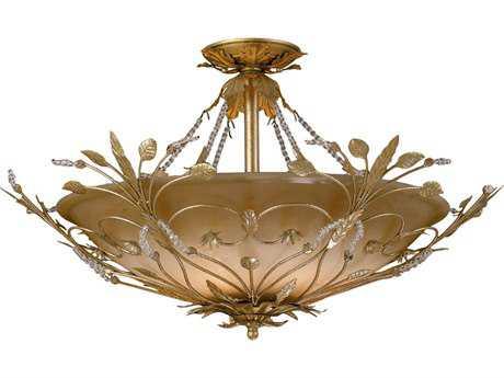 Crystorama Primrose Gold Leaf Six-Light Semi-Flush Mount Light