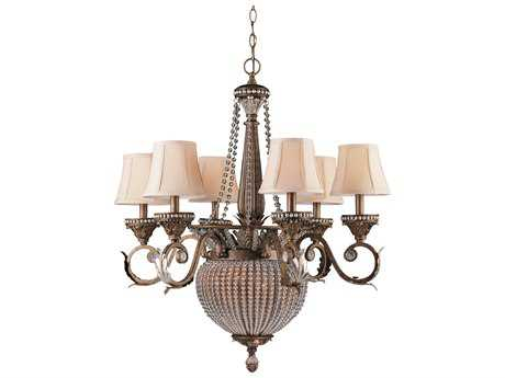Crystorama Roosevelt Weathered Patina Six-Light 27'' Wide Chandelier CRY6726WP