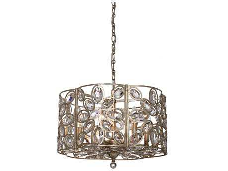 Crystorama Sterling Distressed Twilight Six-Light 18'' Wide Pendant Ceiling Light with Hand Cut Crystals CRY7586DT
