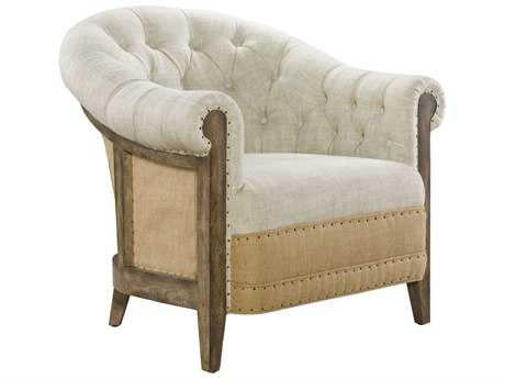 Curations Limited Chambery Deconstructed Burch Antique / Beige Linen & Hemp Back Arm Chair CLD78411006