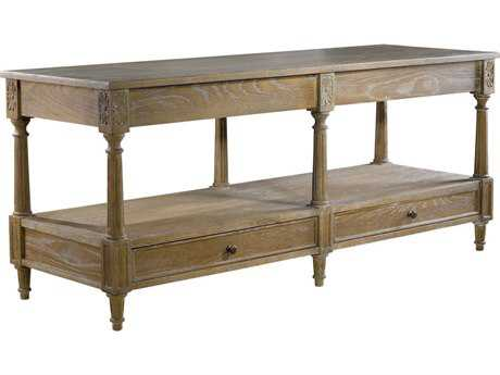 Curations Limited English Weathered Natural Oak Large Console Table CLD88331113