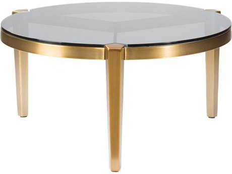Curations Limited Milano Brass Plated / Smoked Glass Middle Coffee Table CLD10001005