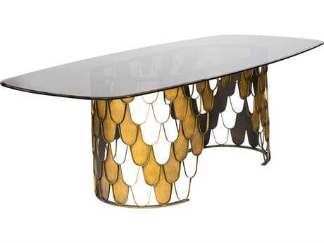 Curations Limited Moscow Brushed Brass / Smoked Glass Dining Table CLD10000001