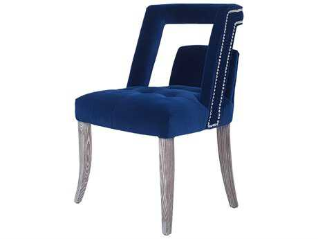 Curations Limited Parisian Weathered Gray / Blue Velvet Dining Chair CLD88263001