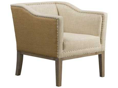 Curations Limited Quarton Weathered Natural Ash / Beige Linen & Hemp Arm Chair CLD78411025