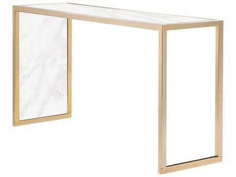 Curations Limited Siri Gold / White Faux Marble Console CLD10012008WHITE