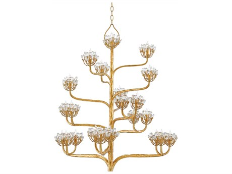 Currey & Company Agave Americana Dark Contemporary Gold Leaf 22-Light 42'' Wide Chandelier CY90000157
