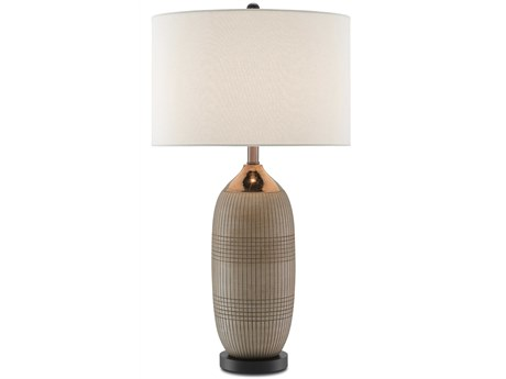 Currey & Company Alexander Matte & Glossy Gold / Black Edison Bulb 17'' Wide Buffet/Table Lamp with Vanilla Linen Shade CY60000096