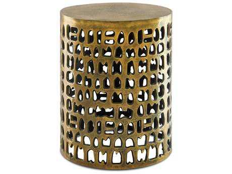 Currey & Company Alvar 16'' Round Antique Gold Accent Table